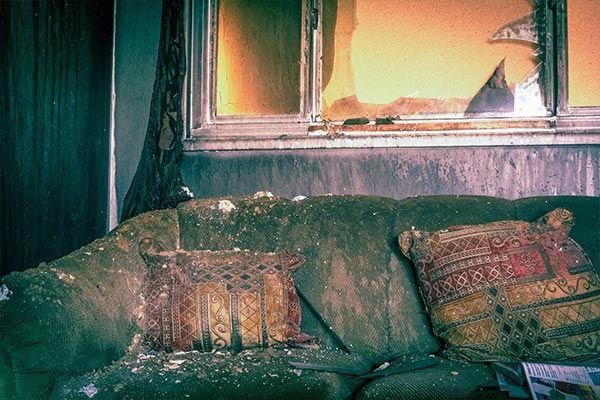 Fire Damage Restoration needed in living room