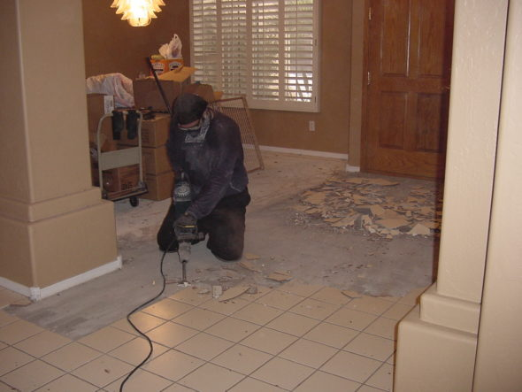 Selective demolition conducted in kitchen of a home
