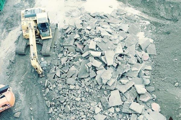 Demolition-of-concrete-lot